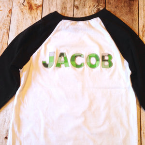 Add Name to shirt- 8 pixel green Building bricks blocks boy Birthday outfit monogram custom letters craft shirt Personalized Add mine tech