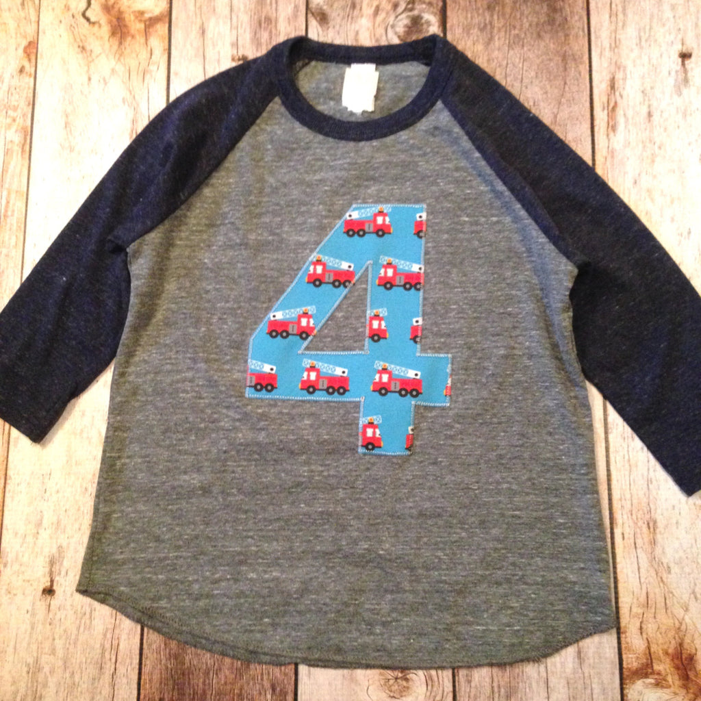 Fire truck Birthday shirt firetruck boy's baseball Navy and Grey 4th four 4 fire truck men firetrucks firemen Fabric Birthday Shirt Birthday