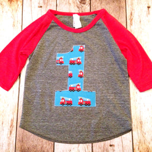 1st Fire truck Birthday shirt one first one firetruck boy's baseball red and Grey raglan fire men firemen Fabric Birthday Shirt trucks