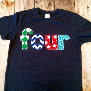 Argyle chevron stars dots four 4 years old 4th Birthday Shirt heather navy blue with kelly green aqua teal royal fabric number applique boys