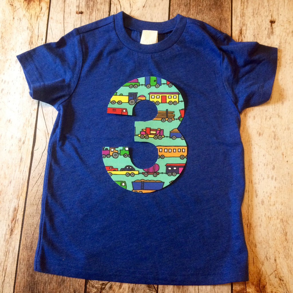 Train tank engine locomotive birthday outfit 1 2 3 4 5 Birthday Shirt royal blue short sleeve blue hauling cars add name like Thomas aqua