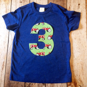farm tractor birthday outfit 1 2 3 4 5 Birthday Shirt royal blue short sleeve green animal cow pig horse cowboy western cake favors bandana