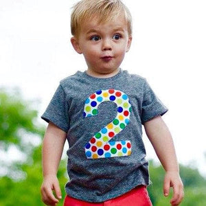 two Birthday Outfit triblend grey Any Number- 1st Birthday Big 2 Primary Secondary Color Wonder Dots Red Blue Yellow Green Aqua ball party