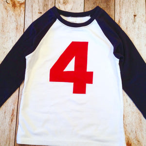 4 boys 4th Birthday shirt NAVY and White Baseball Raglan four Birthday T Shirt- 1st, 2nd, 3rd Any Birthday 1 2 3 4 5 6 7 8 9 sports