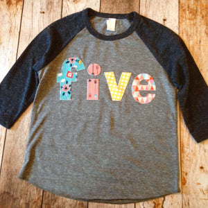 five 5 year old 5th birthday shirt outfit with blue flowers, pink arrows yellow circles tribal teepee triangles girls mix Triblend Grey