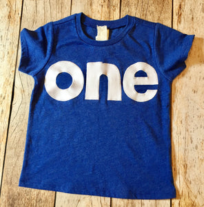 one for 1st Birthday shirt white number on heathered royal blue sewn applique block letters 1 year old boys party favors cake invitation