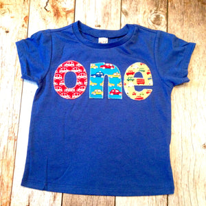 1 Year Old Cars Blue First Birthday Shirt One Cobalt Red Yellow Trucks 1st