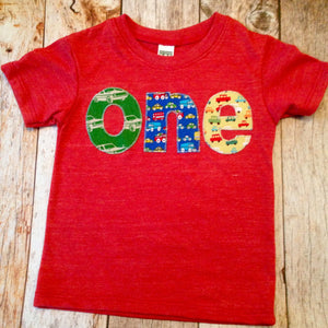 Red 1 year olds Birthday Shirt one shirt triblend indigo red blue and yellow cars trucks for boys 1st Birthday Shirt primary colors
