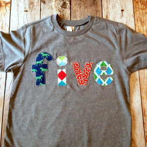 Farm Horse Plaid five birthday shirt 5 years old 5th red green for boys blue grey horseshoes argyle barn animals tractor cowboy rodeo saddle