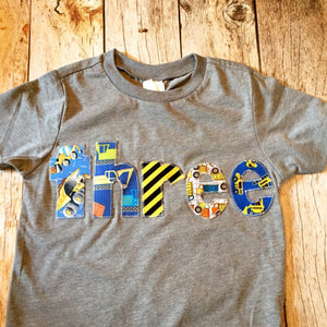 Construction Trucks, dump truck, bulldozer, truck Birthday  shirt, 3 year old, 3rd birthday, three shirt, boys truck shirt