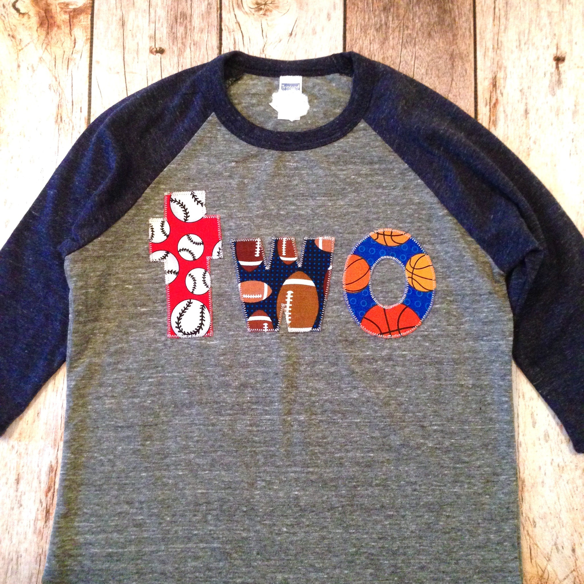 Sports Balls Two Birthday Shirt Navy Grey Boys 2 Year O Captain