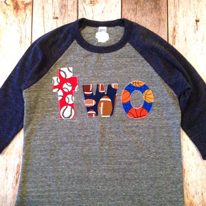 Sports Balls Two Birthday Shirt Navy Grey Boys 2 Year Old 2nd Raglan