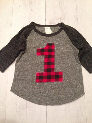 Buffalo plaid, lumberjack birthday shirt, Boys 1st birthday, One 1 year old, red and black, gingham, camper, woods, lumber jack, checkered