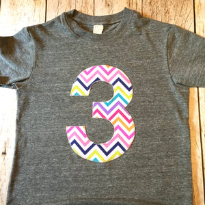 3 for 3rd girls Birthday shirt triblend grey Rainbow Chevron Any Number 1 2 3 4 5 6 7 8 third three year old aqua purple teal red green blue
