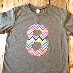 5 for 5th girls Birthday shirt triblend grey Rainbow Chevron Any Number 1 2 3 4 5 6 7 8 fifth five year old aqua purple teal red green blue