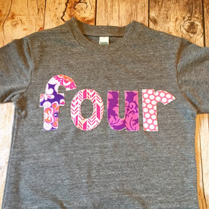 Girls four birthday shirt damask pink arrow feather archery purple circles dots girls Grey Birthday Shirt 4th 4 year old flowers fourth part