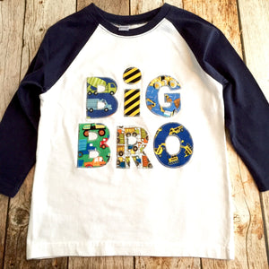 Construction truck Big Bro Raglan Navy and White Lil Sibling pregnancy Announcement Shirt New Baby mp truck digger loader hospital outfit