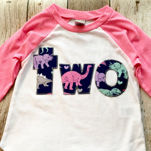 Girls 2nd two Birthday for 2 year old- girl dinosaur 2 on Girls Pink and White Raglan-  Number Birthday Shirt kids tshirt