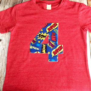Super hero Pow bang on royal blue red yellow primary colors any number Children Costume Superhero Birthday Shirt- Boys Tshirt for Cape