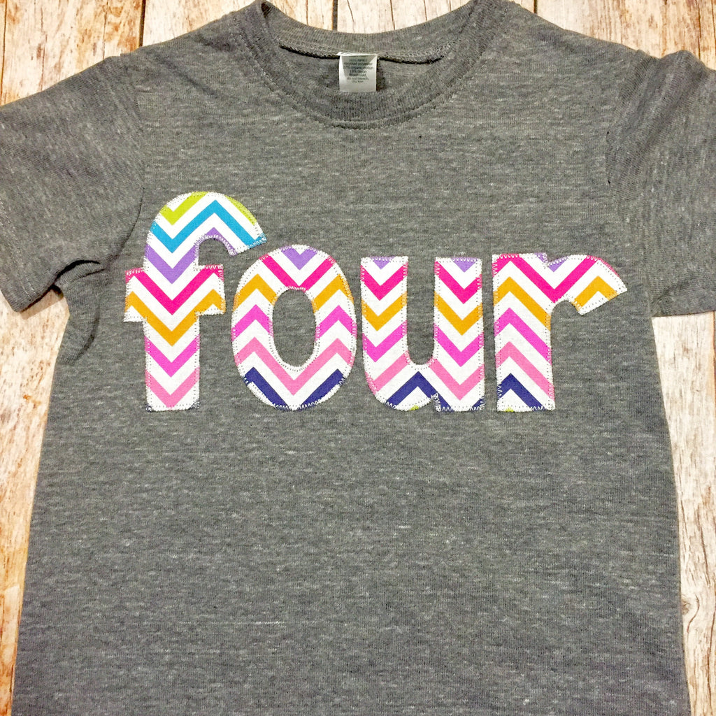 4 rainbow chevron four for 4th girls Birthday Number Shirt unicorn pink purple green yellow orange blue aqua red grey cake favor ideas theme