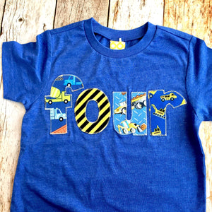 Royal Blue 4 Construction Truck Birthday Shirt Four Years Old 4th Boys Outfit Dumptruck Loader Digger