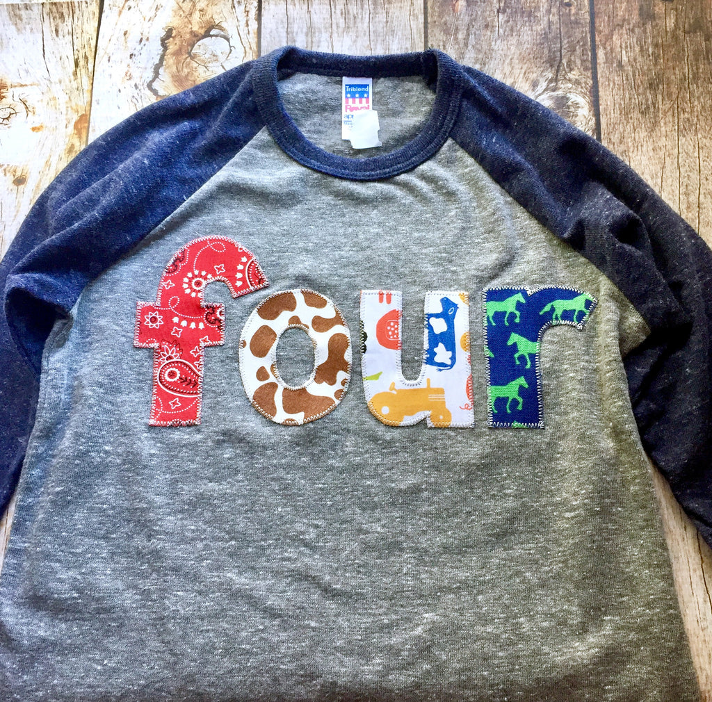 4th four fourth Tractor farm barn animals navy and grey tractor bandana horse cow pig Boys Birthday Shirt Birthday Year Old 4 year old