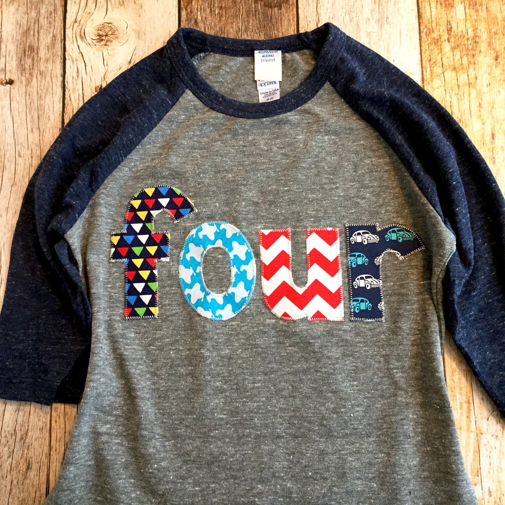 Cars airplane birthday shirt Boy four 4th Birthday Navy and Grey Raglan blue aqua teal turquoise red beetle mini beatle truck transportation