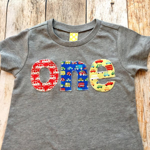 Cars Birthday Shirt one red blue yellow trucks for boys 1st primary colors construction dumptrucks bus vehicles transportation grey baby