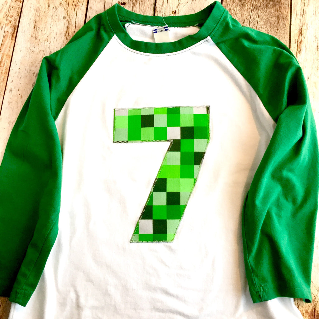 Mine pixel birthday shirt craft made kelly green baseball raglan ANY NUMBER green 8 pixel video game Fabric Birthday Shirt 7th 8th 9th tnt 6