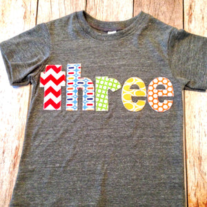Birthday Shirt pez Athletic grey Short Sleeves three in green, blue, yellow, red and orange letters
