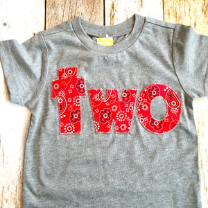 Two 2 2nd second Bandana farm Birthday Shirt boys red barn animls cowboy cow horse toy on heather grey cotton sleeve birthday shirt