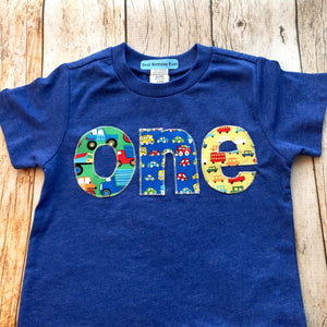 Birthday Shirt one shirt triblend indigo green red blue  yellow cars trucks for boys 1st Birthday Shirt primary colors