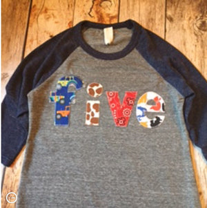 Tractor farm birthday shirt, 5th barn animals outfit, navy and grey Boy five, 5 year old raglan, cow horse  cowboy bandana pig cat duck