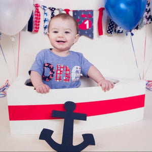 ocean waves birthday shirt shark jolly roger skull boat nautical ocean ship pirate anchor on heathered grey 1 boys first red white and blue