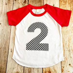 4 four Short sleeves Race track Car birthday shirt Check Flag Boys on a Red and White baseball Raglan 1st 2nd 3rd 4th 5th trucks racetrack