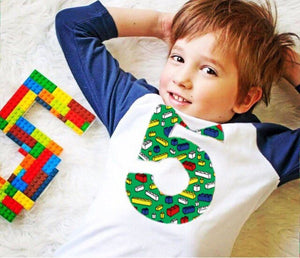 5th construction block 5 Birthday shirt Building Brick green scatter Navy and White Raglan boys toys party cake stem coding 3rd 4th 6th 7th