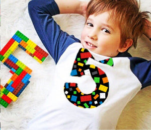 5th construction block 5 Birthday shirt Building Brick on black Navy and White Raglan boys toys party cake stem coding 3rd 4th 6th 7th