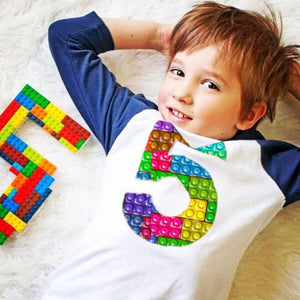 5th construction block 5 Birthday shirt Building Brick bright real Navy and White Raglan boys toys party cake stem coding 3rd 4th 6th 7th
