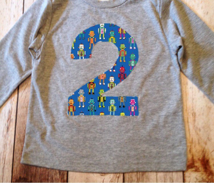 Robot Birthday Shirt Any Number 1 2 3 4 5 6 7 8 9 boys technology stem science engineering machine building brick coding alien space rocket