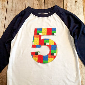 5th construction block, 5 Birthday shirt, Building Brick, primary colors, Navy and White baseball Raglan, boys toys, bricks party, red, blue