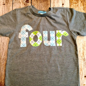 Golf party theme four for 4th Birthday Number Shirt blue and lime green