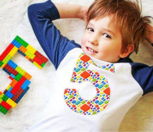 5th construction block 5 Birthday shirt Building Brick on white Navy and White Raglan boys toys party cake stem coding 3rd 4th 6th 7th
