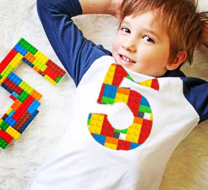 5th construction block 5 Birthday shirt Building Brick primary black white  Navy and White Raglan boys toys party cake stem coding 3rd 4th