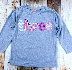 3 three birthday shirt Long Sleeve Heather Grey Shirt with girls third birthday pink fuchsia purple cake Color Number Birthday Shirt one 3rd