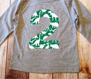 2 dinosaur birthday shirt, boy birthday shirt, dinosaur party, dinosaur shirt, 2nd birthday, second birthday outfit, dino party, personalize