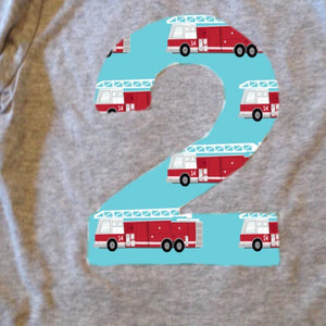 Fire truck firetruck  Birthday Shirt Long Sleeve Any Number 1 2 3 4 5 6 7 8 9 2nd two boys engine men hose hat dalmation rescue vehicle aqua