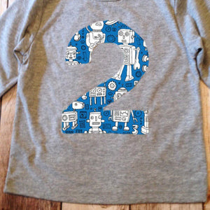 Blue Robot Birthday Shirt Any Number 1 2 3 4 5 6 7 8 9 boys technology stem science engineering machine building coding alien space rocket