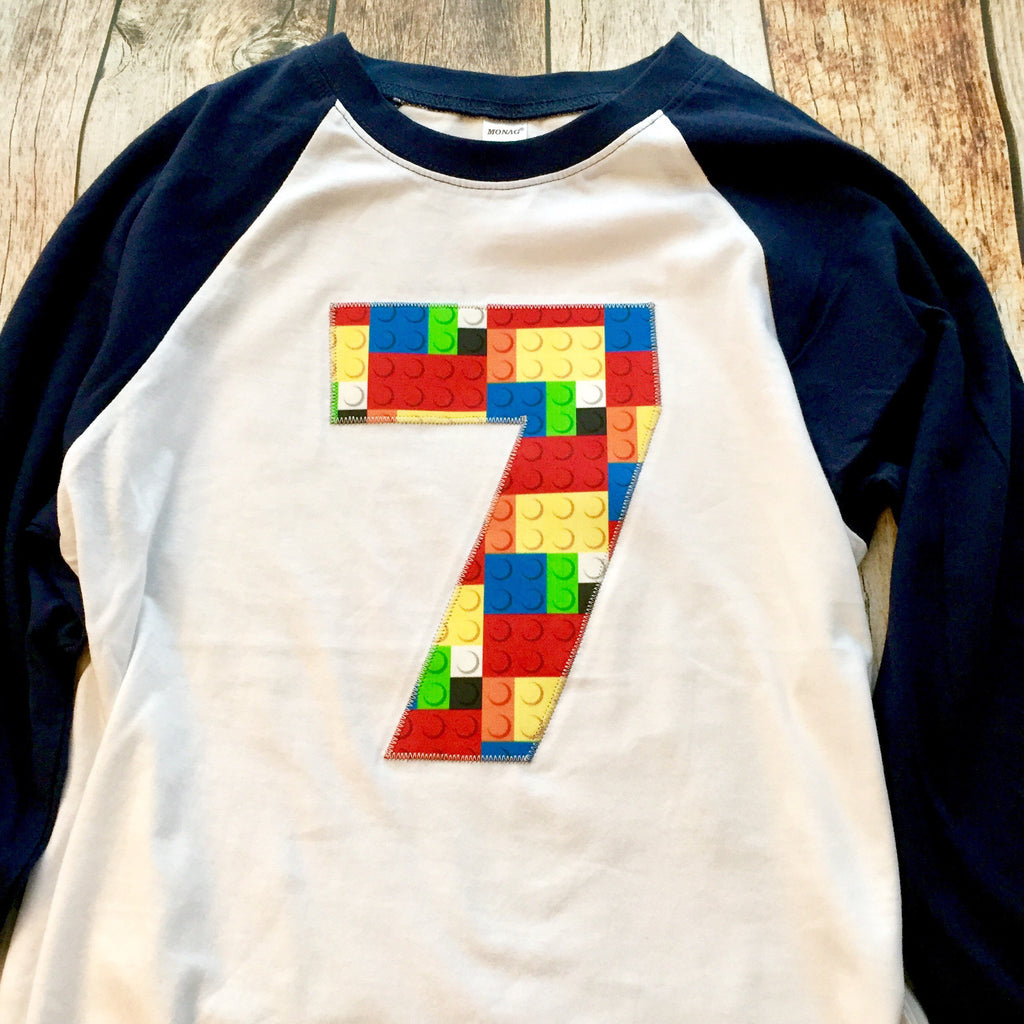 7th construction block 7 Birthday shirt Building Brick primary black white Navy and White baseball Raglan boys toys party cake coding 3 4 5