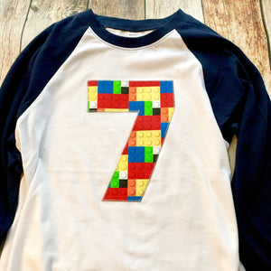 6th construction block 6 Birthday shirt Building Brick primary black white Navy and White baseball Raglan boys toys party cake coding 3 4 5