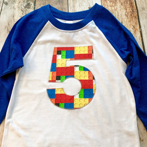 5th construction block 5 Birthday shirt Building Brick primary black white royal blue and White Raglan boys toys party cake 1 2 3 4 6 7 8 9